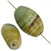 "Glass Bead Oval 13x19mm 8""str Green Stripe"